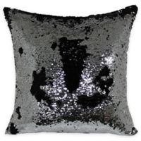 Mermaid Sequin Throw Pillow in Silver/Black