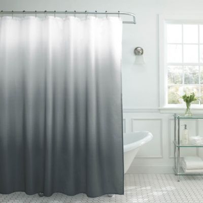 Ombre Weave Shower Curtain in Dark Grey Buy from Bed Bath  Beyond