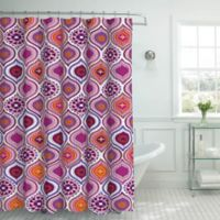 Olina Shower Curtain with Rings in Pink