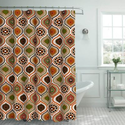 Olina Shower Curtain With Rings In Rust