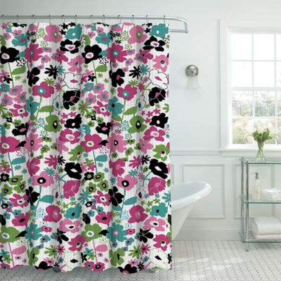 Bon Stencil Floral Shower Curtain With Hooks In Pink/Black