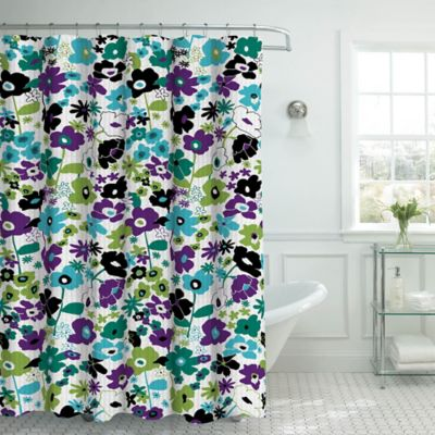 Stencil Floral Shower Curtain With Hooks In Jewel