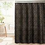 Chain Damask Diamond Weave Textured Shower Curtain in Black/Multi