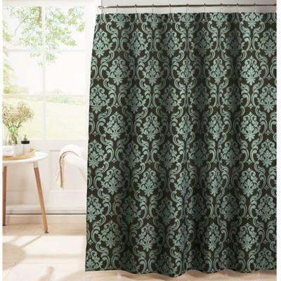 Chain Damask Diamond Weave Textured Shower Curtain In Espresso/Blue