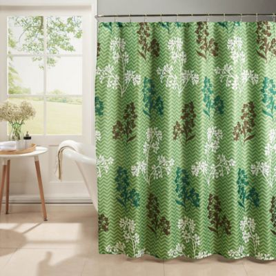 Whimsy Shower Curtain With Hooks In Sage