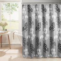 Whimsy Shower Curtain with Hooks in Grey