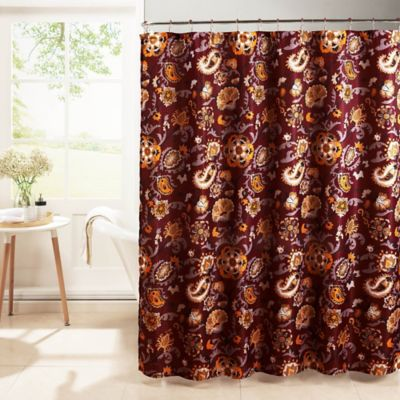 Henna Diamond Weave Textured Shower Curtain In Barn Red