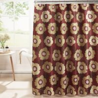 Dione Diamond Weave Textured Shower Curtain in Red/Beige