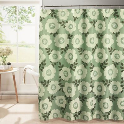 Dione Diamond Weave Textured Shower Curtain In Sage/Ivory