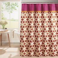 Harajuku Shower Curtain With Hooks In Pink Orange