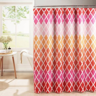 Gateway Lattice Shower Curtain With Rings In Pink