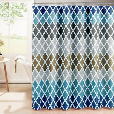 Gateway Lattice Shower Curtain With Rings In Blue