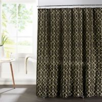 Ikat Faux Linen Textured Shower Curtain with Rings in Espresso