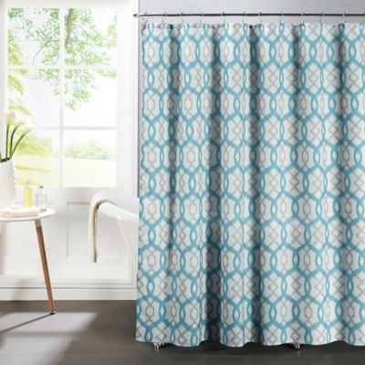 Ikat Faux Linen Textured Shower Curtain With Rings In Aqua