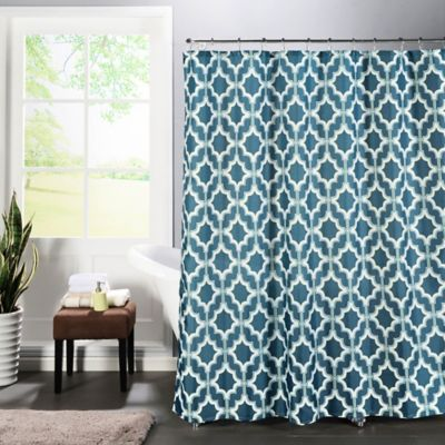 Loren Faux Linen Shower Curtain In Blue White