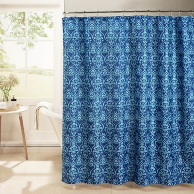 Melissa Oxford Weave Textured Shower Curtain With Rings In Indigo