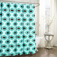 Faux Linen Textured Shower Curtain with Rings in Turquoise/Espresso