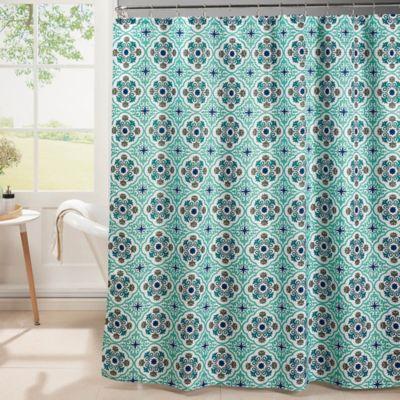 Oxford Weave Textured Shower Curtain In Aqua