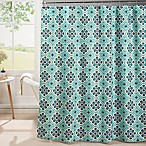 Oxford Weave Textured Shower Curtain in Aqua