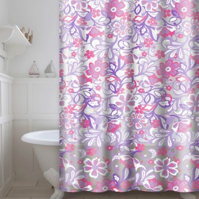 Frotti PEVA Shower Curtain With Rings In Purple Pink