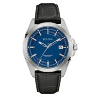 Bulova Precisionist Men's 43mm Blue Dial UHF Watch in Stainless Steel w/Black Leather Strap
