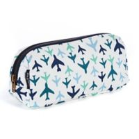 Keep Leaf Plane Print Cosmetic Bag in Blue