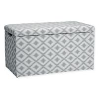 Skyline Furniture Skylar Storage Bench in Ikat Fret Pewter
