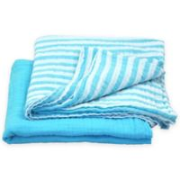 green sprouts® by i play.® 2-Pack Organic Stripe/Solid Muslin Swaddle Blankets in Aqua