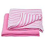 green sprouts® by i play.® 2-Pack Cotton Stripe/Solid Muslin Swaddle Blankets in Pink