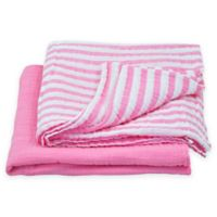 green sprouts® by i play.® 2-Pack Organic Stripe/Solid Muslin Swaddle Blankets in Pink