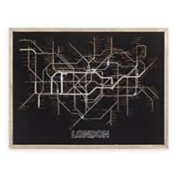 Sterling Industries Tubetime Framed London Tube Map Wall Art in Black/Grey