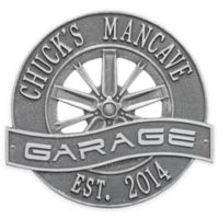 Whitehall Products 0.34-Inch x 12-Inch Racing Wheel Garage Plaque in Pewter Silver