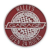 Whitehall Products 12-Inch Victory Lane Garage Plaque in Red/Silver