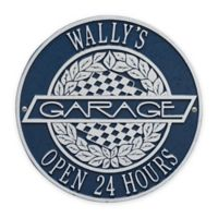 Whitehall Products 12-Inch Victory Lane Garage Plaque in Blue/Silver