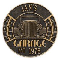 Whitehall Products 11.5-Inch Vintage Car Garage Plaque in Black/Gold