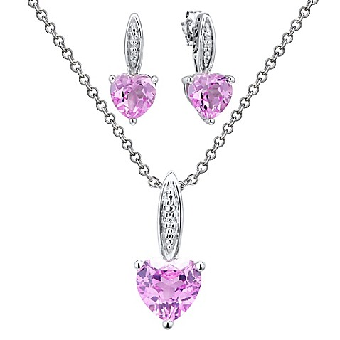 image of Sterling Silver Diamond and Lab-Created Pink Sapphire Heart-Shaped Drop Earrings and Necklace Set