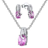 Sterling Silver Diamond and Lab-Created Pink Sapphire Oval Stud Earrings and Necklace Set