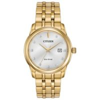 Citizen Eco-Drive Men's 39mm Diamond-Accented Silver Dial Watch in Goldtone Stainless Steel
