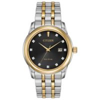 Citizen Eco-Drive Men's 39mm Diamond-Accented Black Dial Watch in Two-Tone Stainless Steel