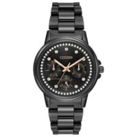Citizen Eco-Drive Ladies' 37mmmm Silhouette Crystal Accented Dial Watch in Black Stainless Steel