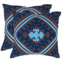 Safavieh Pete 20-Inch x 20-Inch Throw Pillow in Chocolate/Indigo (Set of 2)
