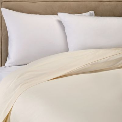 sleep u0026 beyond organic cotton sateen twin duvet cover in ivory - Comforter Covers