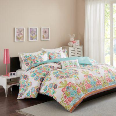 mi zone britt twintwin xl 3piece comforter set in coral