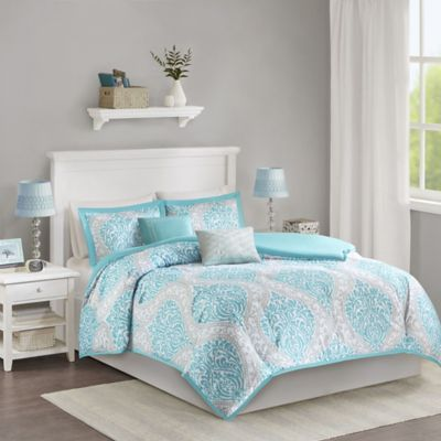 intelligent design senna king duvet set in aqua