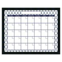 Mezzanotte Quatrefoil Dry-Erase Blank Calendar in Blue