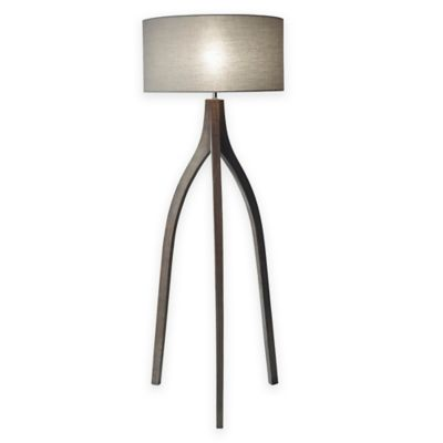 Buy floor lamp with black shade from bed bath beyond sherwood floor lamp in wash black with grey fabric shade aloadofball Choice Image