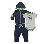 Baby Vision® Size 9-12M 3-Piece Tough Guy Bodysuit, Hoodie, and Pant Set in Navy/Grey/Green