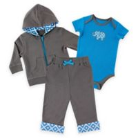 Baby Vision® Size 9-12M 3-Piece Elephant Bodysuit, Hoodie, and Pant Set in Grey/Blue/White