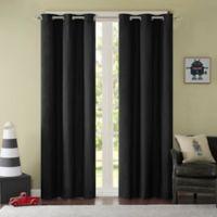 Mi Zone Cobi 63-Inch Grommet Top Lined Window Curtain Panel Pair in Black