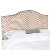 Safavieh Connie Diagonal Plaid King Headboard in Dusty Rose/White